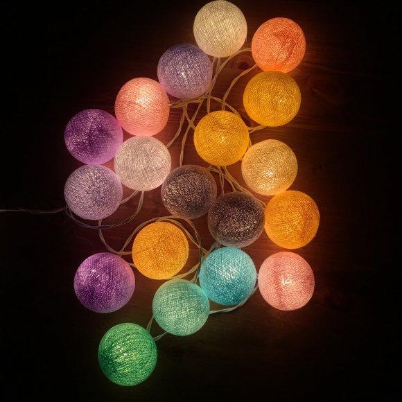 Тайская гирлянда пастельная радуга