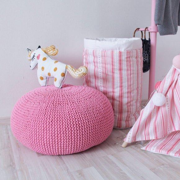 Вязаный пуф Розовый