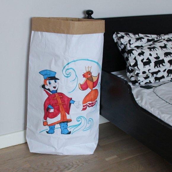 Эко-мешок для игрушек из крафт бумаги под раскраску