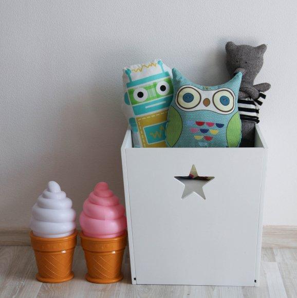 Деревянный ящик для игрушек Белый с звездой