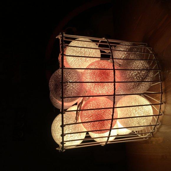 Тайская гирлянда розово-серая