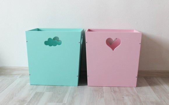 Деревянный ящик для игрушек, бирюзовый с облачком
