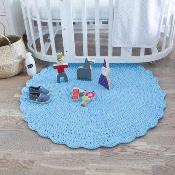 Вязаный коврик Голубой