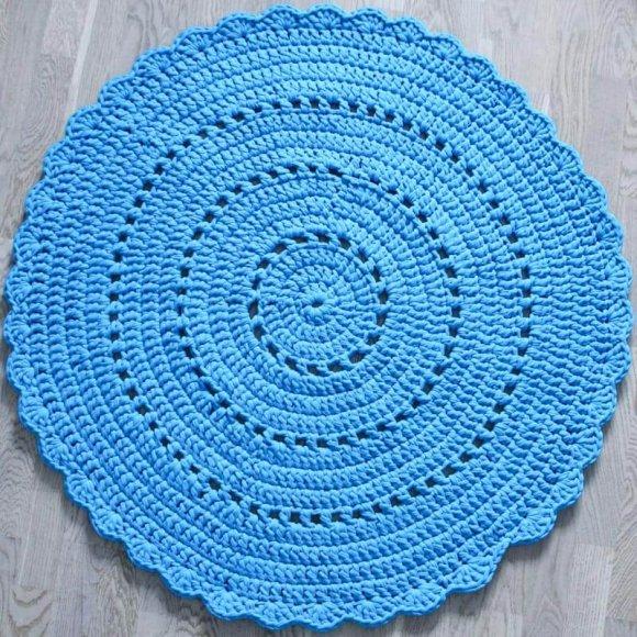 Вязаный коврик Синий
