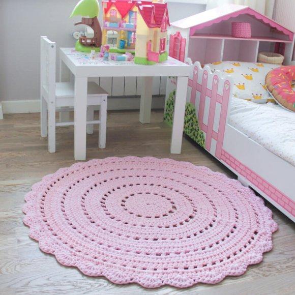 Вязаный коврик Розовый
