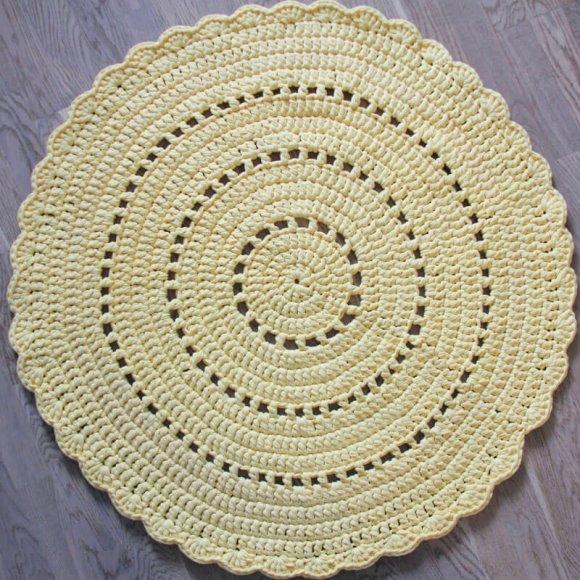 Вязаный коврик Желтый