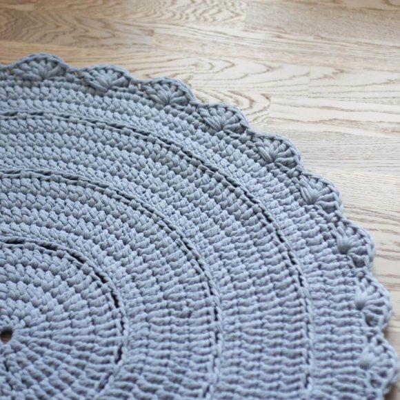 Вязаный коврик Серый Меланж
