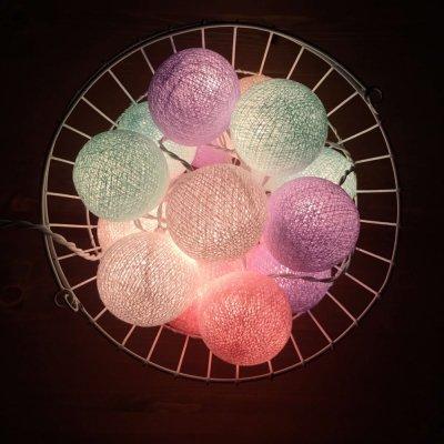 Тайская гирлянда мятно-розово-фиолетовая