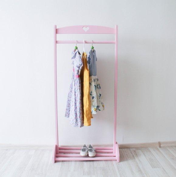 Напольная детская вешалка-стойка розовая