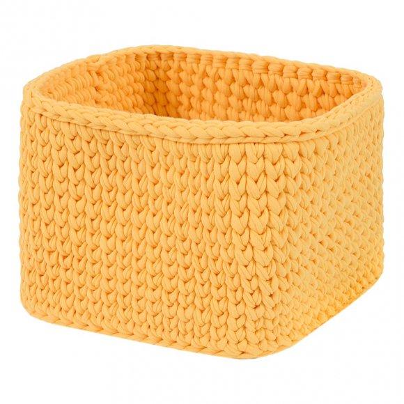 Вязаная корзина Желтая квадратная малая