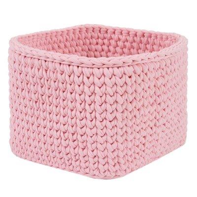 Вязаная корзина Розовая квадратная малая