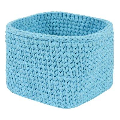 Вязаная корзина Голубая квадратная малая