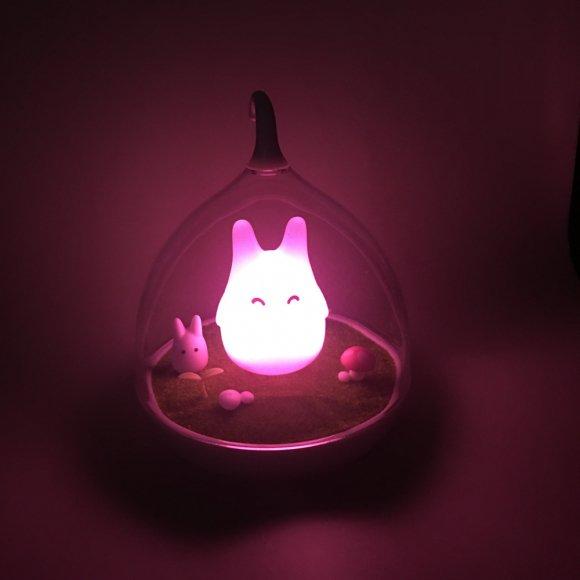 Детский ночник Котик на Лужайке розовый