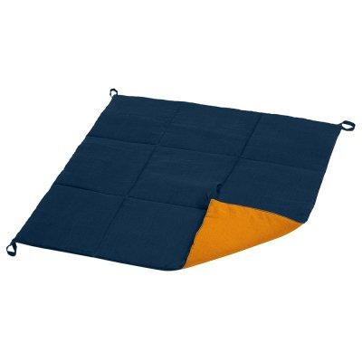 Стеганый коврик из синего льна